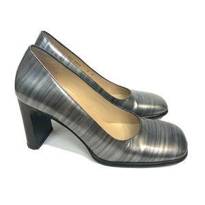 GUCCI Gray Metallic Square Toe Pumps Heels 7